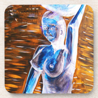Topless African Woman Carrying Basket, Surreal Drink Coasters