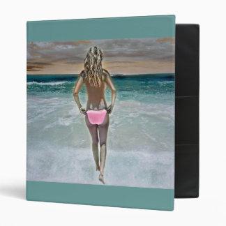 Topless bikini girl on Mexican beach 3 Ring Binders