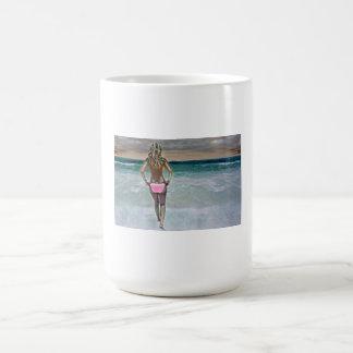 Topless bikini girl on Mexican beach Basic White Mug