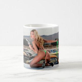 Topless Girl With Gun Mug