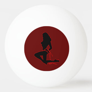 Topless Woman Silhouette One Star Ping Pong Ball