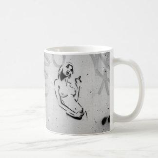 topless women stencil graffiti art mug