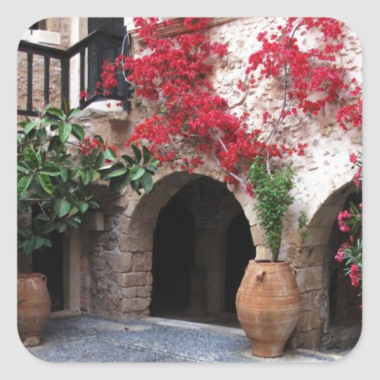 Toplou Monastery Church courtyard CRETE GREECE Square Sticker