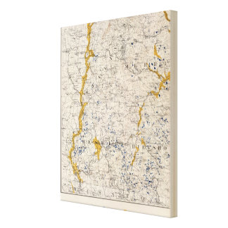 Topographic and Glacial Map of New Hampshire 3 Canvas Print