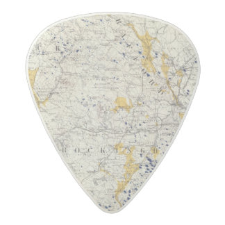 Topographic and Glacial Map of New Hampshire Acetal Guitar Pick