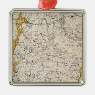 Topographic and Glacial Map of New Hampshire Christmas Ornament
