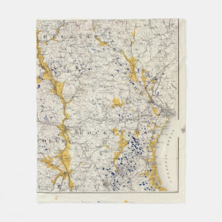 Topographic and Glacial Map of New Hampshire Fleece Blanket