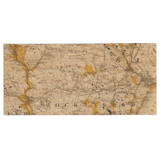 Topographic and Glacial Map of New Hampshire Wood USB 2.0 Flash Drive