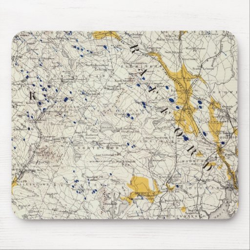 Topographic and Glacial Map of New Hampshire Mouse Pad