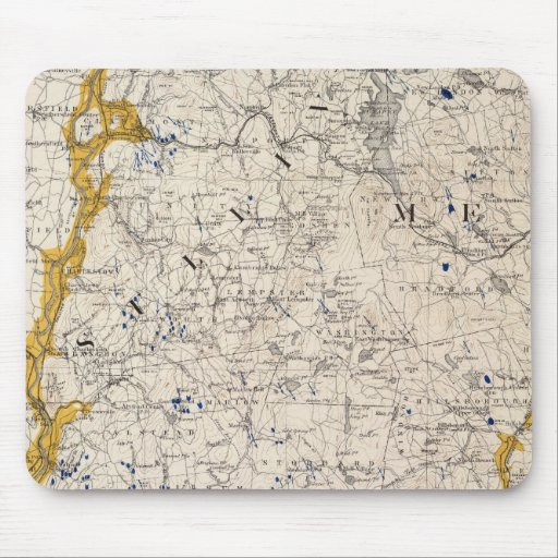 Topographic and Glacial Map of New Hampshire Mousepad