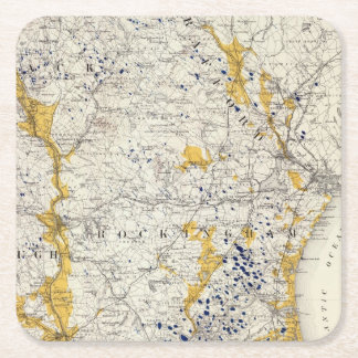 Topographic and Glacial Map of New Hampshire Square Paper Coaster