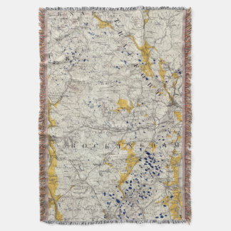Topographic and Glacial Map of New Hampshire Throw Blanket