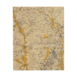 Topographic and Glacial Map of New Hampshire Wood Wall Art