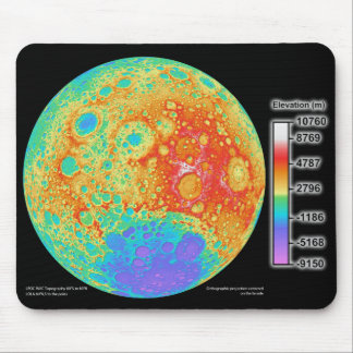 Topographic Color Map of the Moon s Lunar Surface Mousepads
