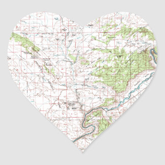 Topographic Map Heart Sticker