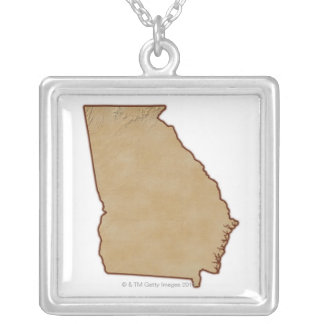 Topographic Map of Georgia Silver Plated Necklace