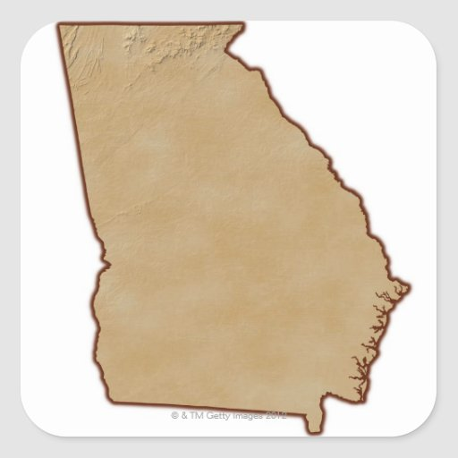 Topographic Map of Georgia Sticker