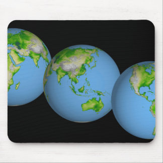 Topographic views of the world mouse pad