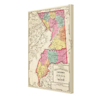 Topographical atlas of Maryland counties 2 Canvas Print
