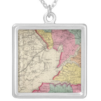Topographical atlas of Maryland counties 2 Square Pendant Necklace
