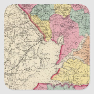 Topographical atlas of Maryland counties 2 Square Sticker