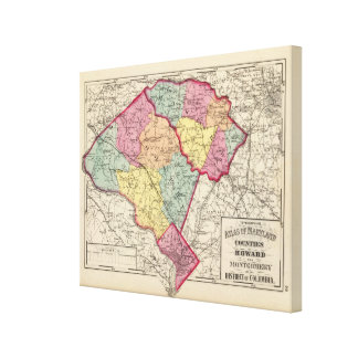 Topographical atlas of Maryland counties 3 Canvas Print