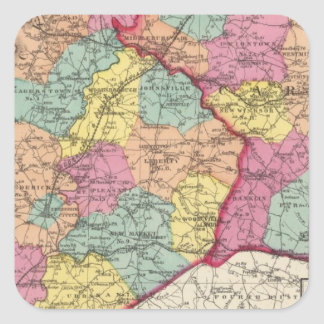 Topographical atlas of Maryland counties 5 Square Sticker
