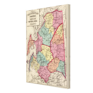 Topographical atlas of Maryland counties 6 Canvas Print