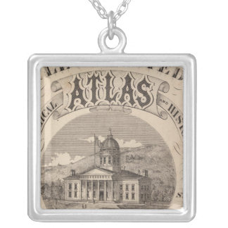 Topographical atlas silver plated necklace