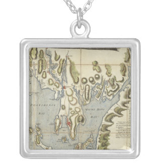 Topographical Chart of the Bay of Narraganset Silver Plated Necklace
