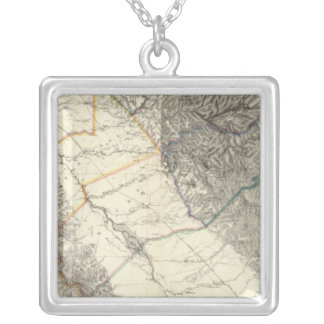 Topographical Map of Central California Silver Plated Necklace