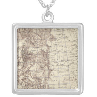 Topographical Map of Mississippi River Silver Plated Necklace
