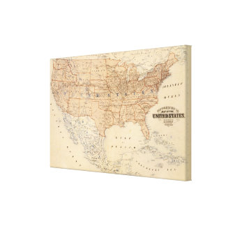 Topographical Map of the United States Canvas Print