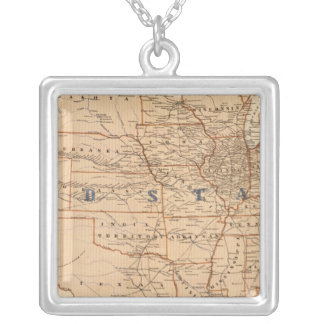 Topographical Map of the United States Silver Plated Necklace