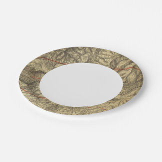 Topographical Map of The Yosemite Valley 2 7 Inch Paper Plate