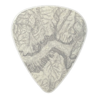 Topographical Map of The Yosemite Valley 2 Acetal Guitar Pick