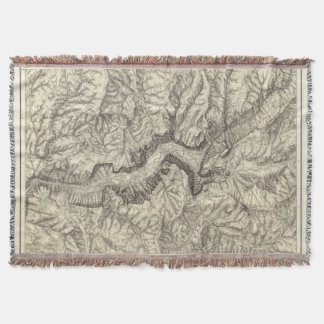 Topographical Map of The Yosemite Valley 2 Throw Blanket