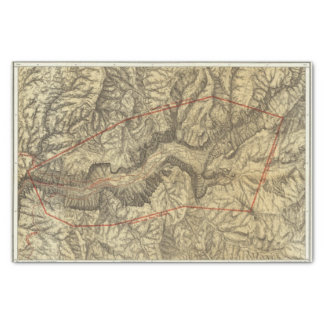 Topographical Map of The Yosemite Valley 2 Tissue Paper