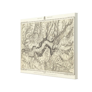 Topographical Map of The Yosemite Valley Canvas Print