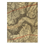 Topographical Map of The Yosemite Valley Postcard
