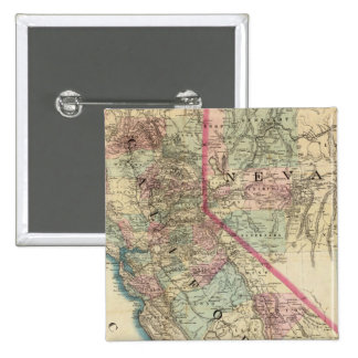 Topographical Railroad and County Map, California 15 Cm Square Badge