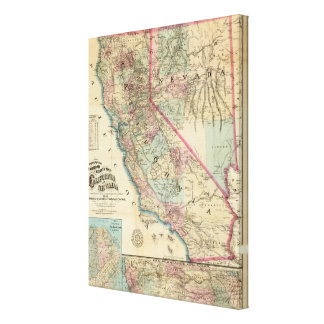 Topographical Railroad and County Map, California Canvas Print