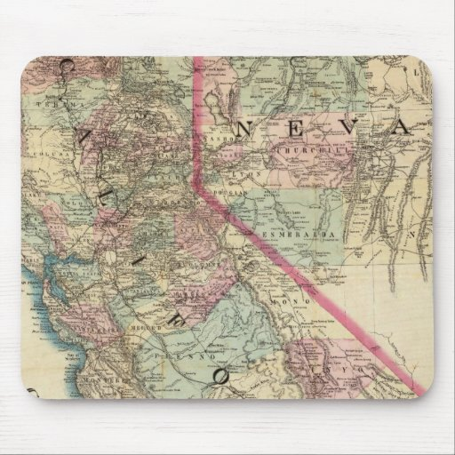 Topographical Railroad and County Map, California Mouse Pads