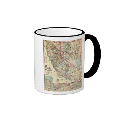 Topographical Railroad and County Map, California Mug