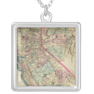 Topographical Railroad and County Map, California Silver Plated Necklace