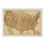 Topographical USA Map - 1883 Poster