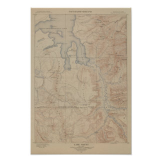 Topography Map, Yellowstone National Part, Wyoming Poster