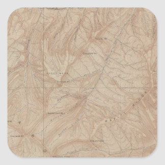 Topography Map, Yellowstone National Part, Wyoming Square Sticker