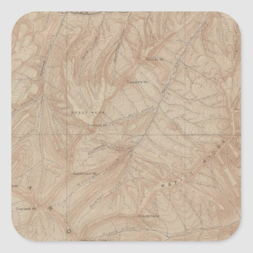 Topography Map, Yellowstone National Part, Wyoming Sticker