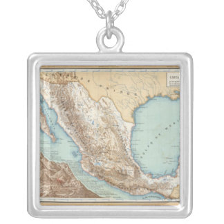 Topography of Mexico Silver Plated Necklace